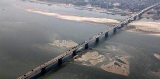 Mahatma Gandhi bridge over river Ganga in Bihar