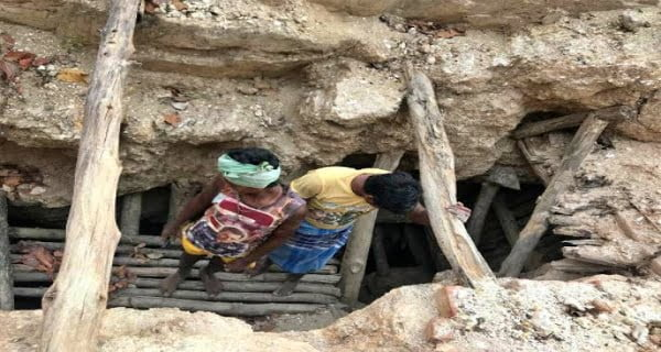 Roof of Mica Mine Collapses