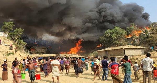 Fire in Rohingya camp in Bangladesh