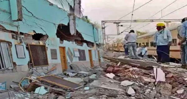 Railway station building collapsed