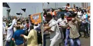 Clashes between BJP workers and farmers on Ghazipur border