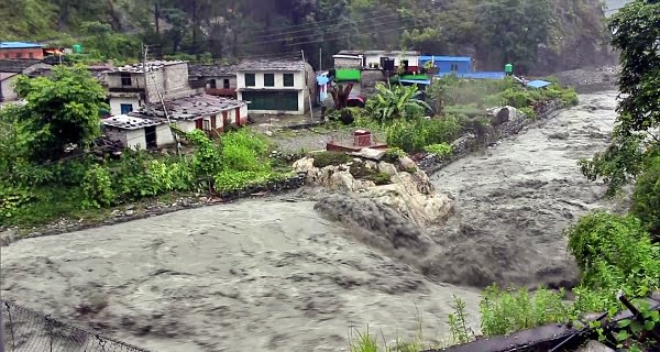 Flood due to heavy rain in Nepal