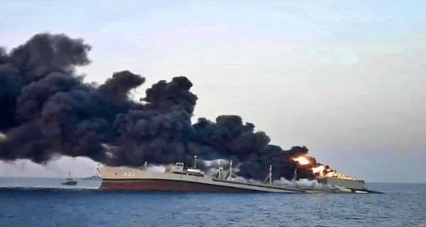 Iranian Navy's largest ship sinks after fire in Gulf of Oman